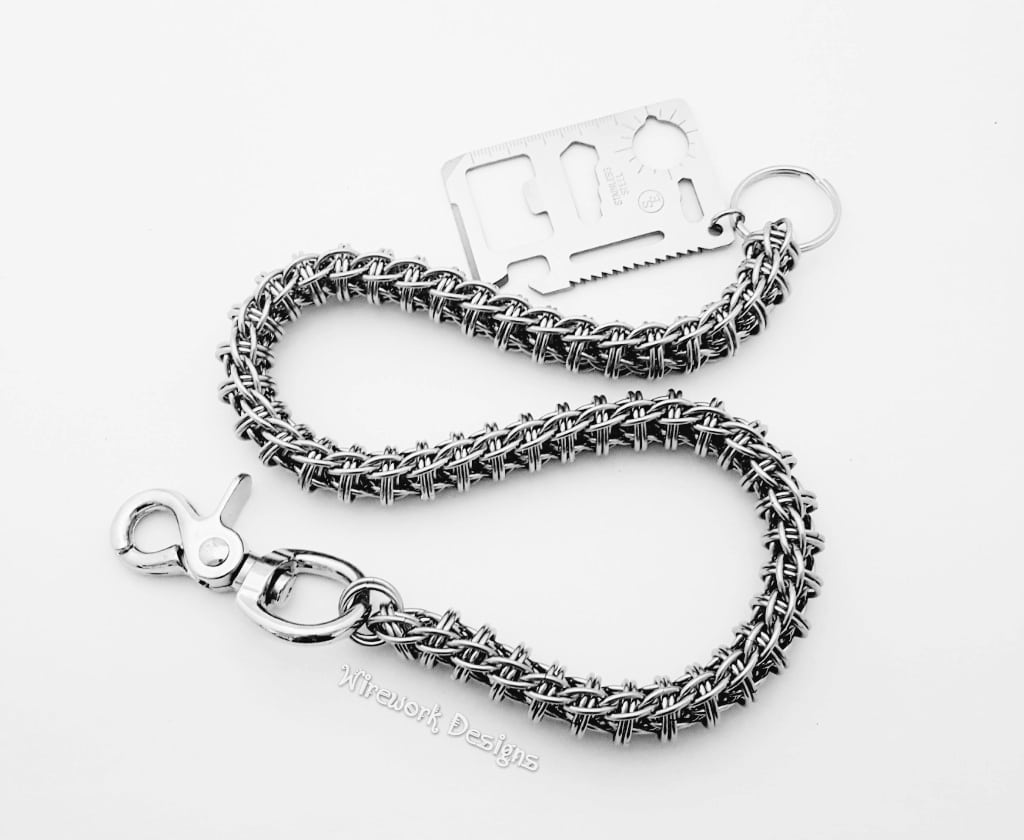 """Wirework Designs   Handcrafted chainmaille jewellery and chainmaille products   Stainless Steel Wallet Chain 22"""" Firewyrm Weave   20200204_125958"""