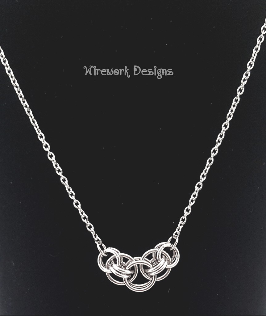Wirework Designs | Handcrafted chainmaille jewellery and chainmaille products | Stainless Steel Helm Unit Weave Necklace on a Stainless Steel Chain | 20200311_161220_wm