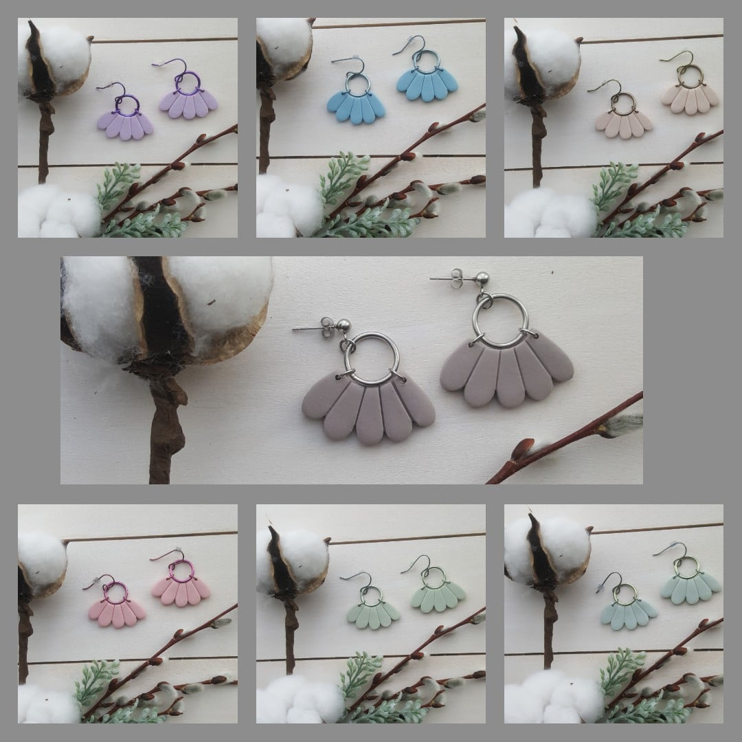 Wirework Designs | Handcrafted chainmaille jewellery and chainmaille products | Classic Petal Fan Clay Earrings | Collage 2021-04-19 07_38_09