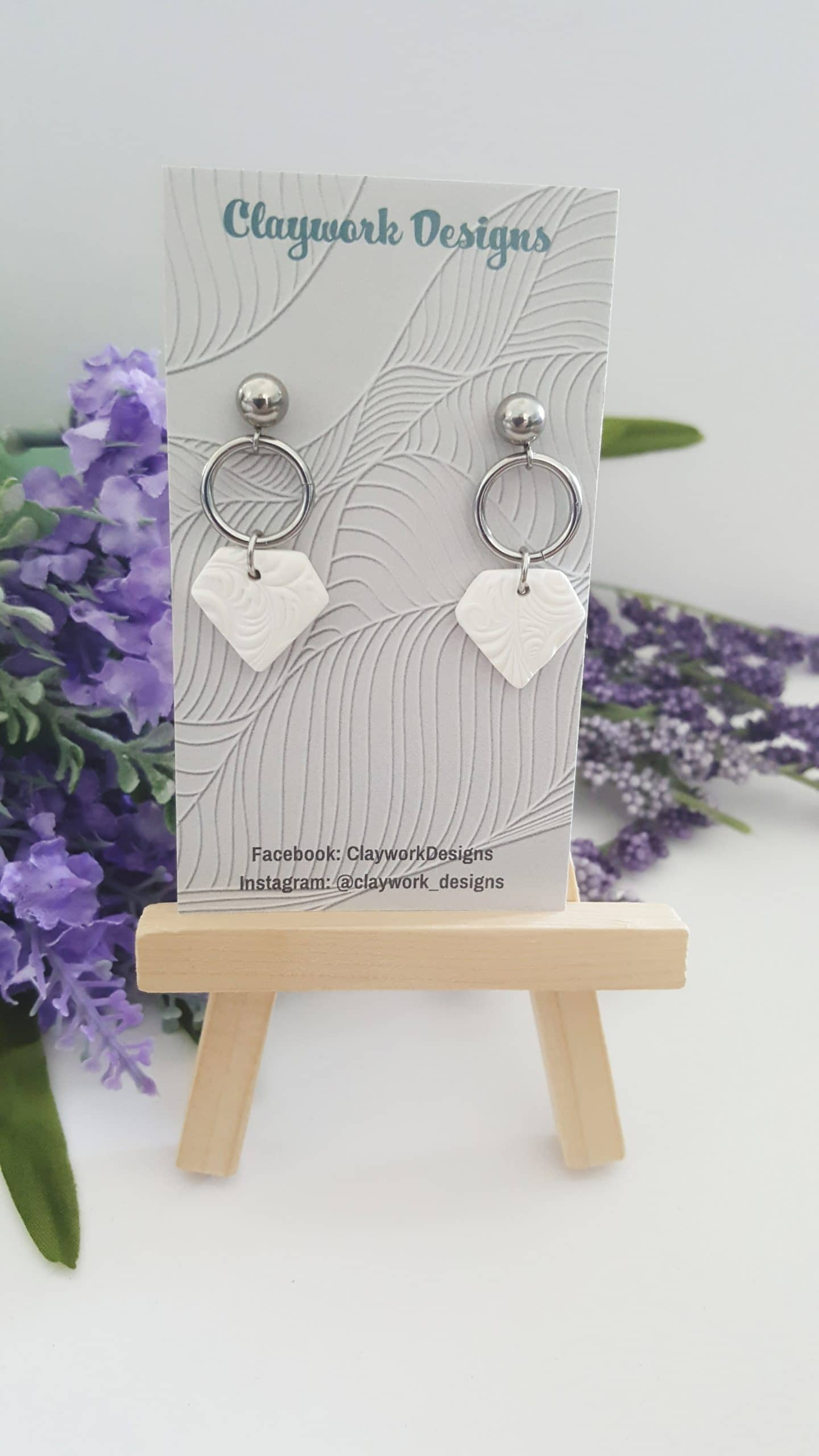 Wirework Designs   Handcrafted chainmaille jewellery and chainmaille products   Clay Dangle Stud Earrings - Single pair   20210515_152524
