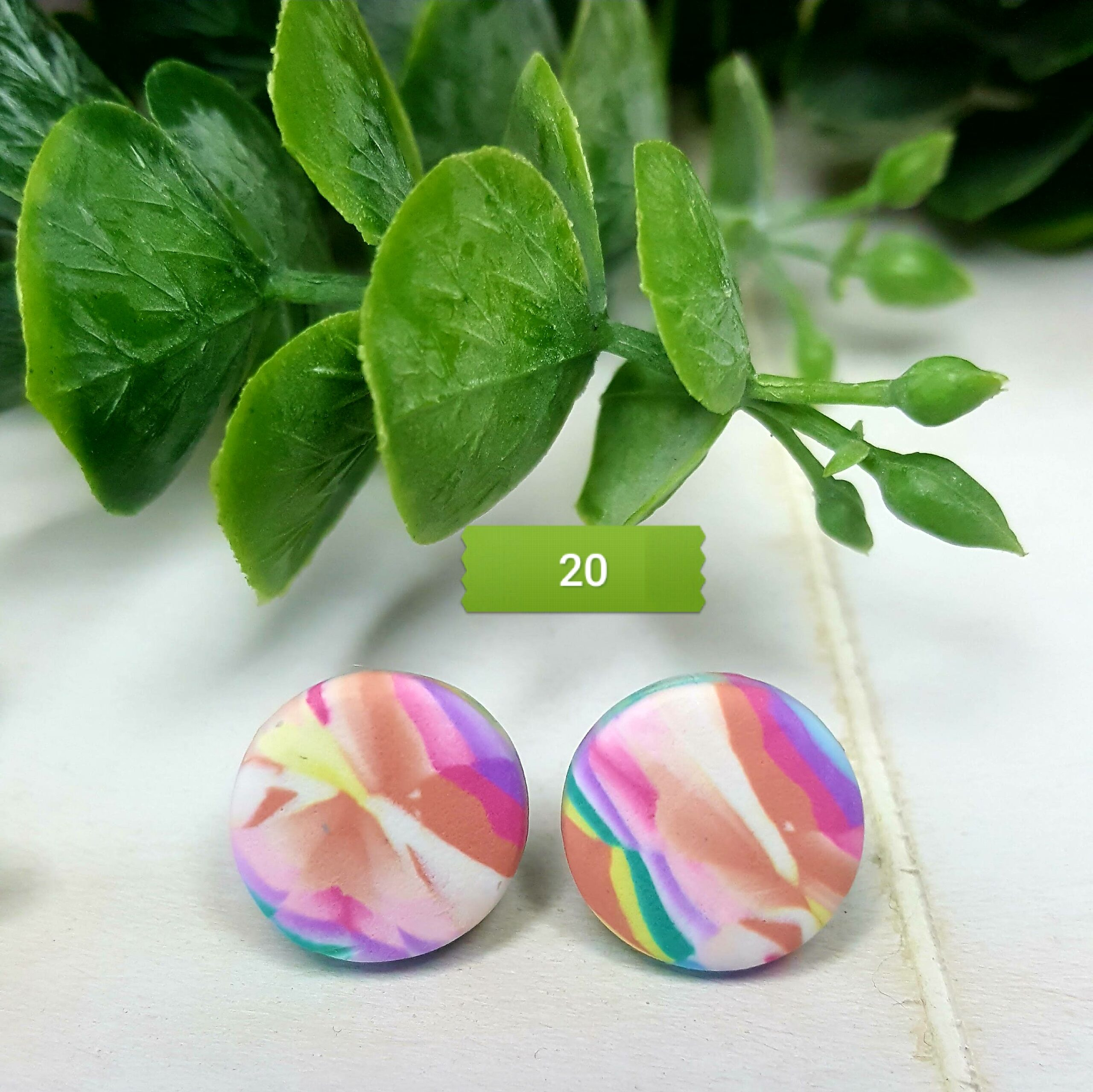 Wirework Designs | Handcrafted chainmaille jewellery and chainmaille products | Tye Dye Stud Earrings | 20210703_090816
