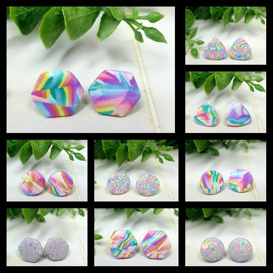 Wirework Designs | Handcrafted chainmaille jewellery and chainmaille products | Tye Dye Stud Earrings | IMG_20210702_172757_562